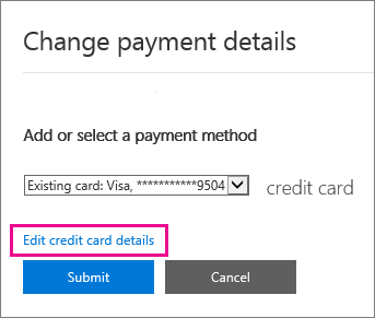 Payment details page with Edit credit card details highlighted.