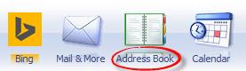 Address book in MSN Explorer ribbon