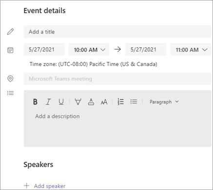 Event details section