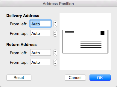 In Address Position, you can change the distance of the delivery and return addresses from the edges of the envelope.