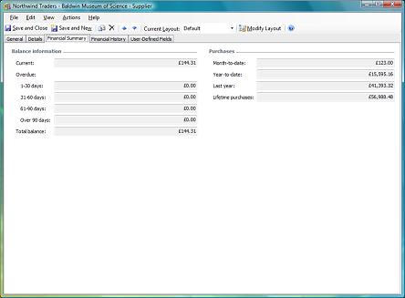 financial summary tab on supplier form