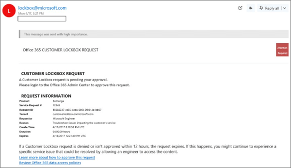 Screenshot: Sample customer lockbox email