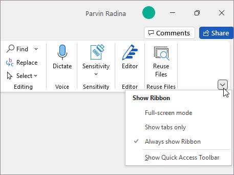 Ribbon display options menu
