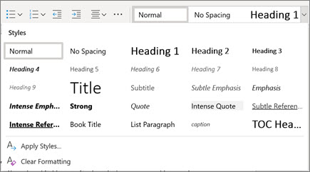 Styles in Word for the web