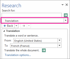 The Translation option in the Research pane