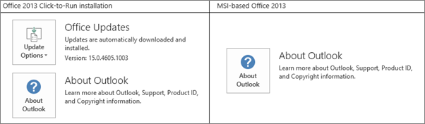 Graphic that shows how to tell if Office 2013 install is click-to-run or MSI-based