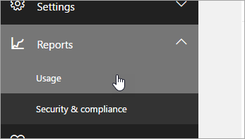 In the admin center, click reports, then usage.