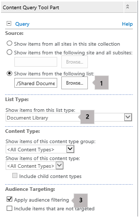 Content Query Web Part properties list with three callouts