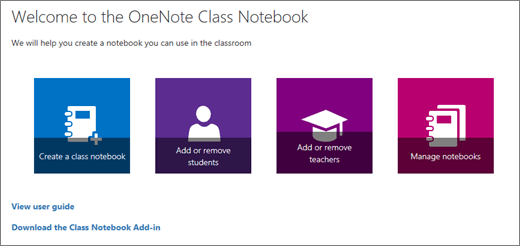 OneNote Class Notebook Wizard with icons to Create a class notebook, Add or remove students, Add or remove teachers, and Manage notebooks.
