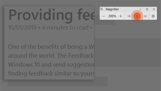Magnifier reading text aloud.