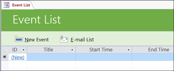Event list form in the Access Events database template