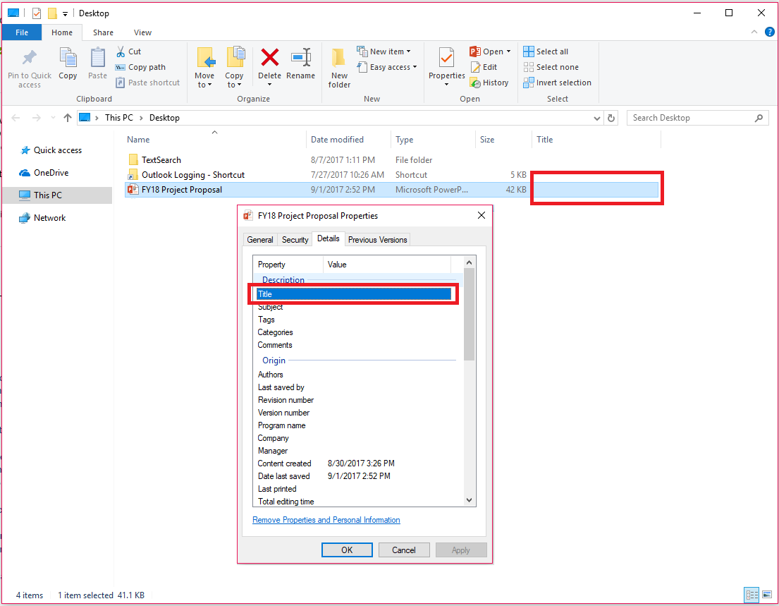 Office Document Properties in Windows File Explorer
