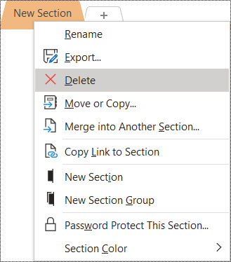 Screenshot of the context menu for removing a section