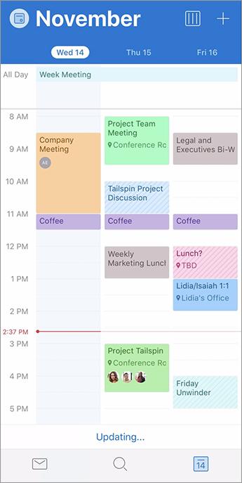 Calendar showing color categories