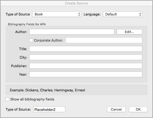 Create a citation source