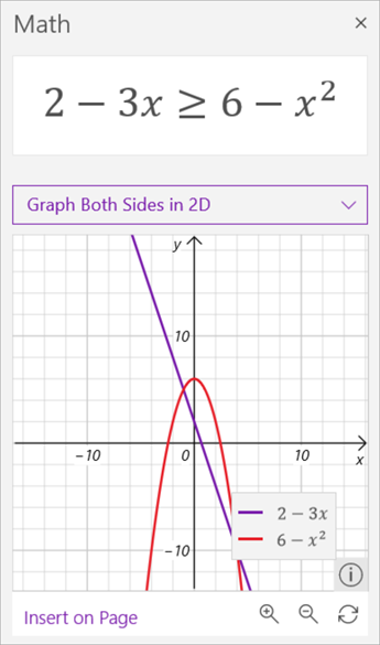 screenshot of math assistant generated graphs of the inequality 2 minus 3 x is greater than or equal to 6 minus x squared. The former in purple and the latter in red.