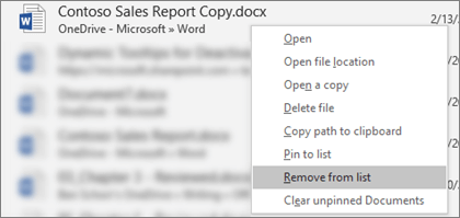 The context menu that you see when you right-click a file in the Recent Files list