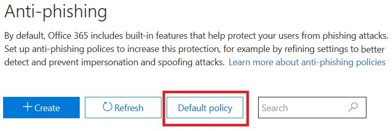 Default policy for Antiphishing