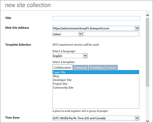 New Site Collection dialog box (top half)