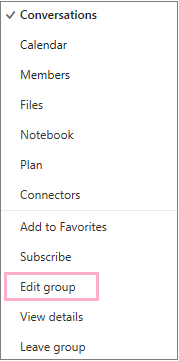 Calendar group context, or shortcut, menu highlighting the Edit group option. Menu appears when the More actions button is chosen on the individual group menu bar.