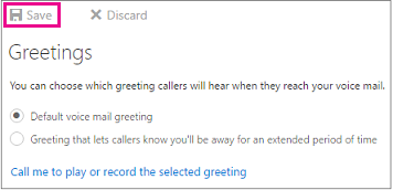 Set up your voice mail outlook greetings dialog box with save button highlighted m4hsunfo