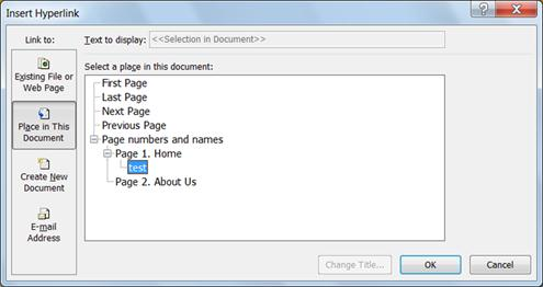 Insert Hyperlink dialog in Publisher 2010