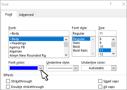 Change the default text color (font color) in Word - Office