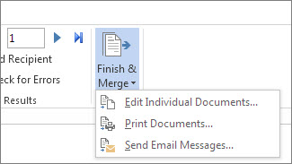 Screenshot of the Mailings tab in Word, showing the Finish & Merge command and its options.