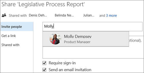 Screenshot of sharing a file in OneDrive for Business