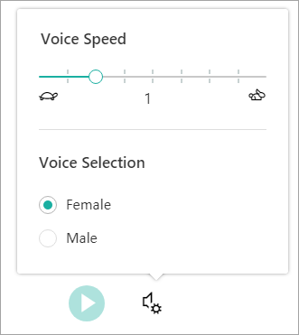 Immersive reader voice speed and gender