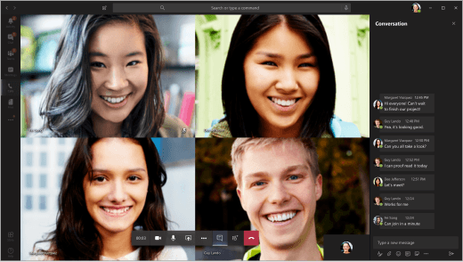 Students in a video chat in Teams