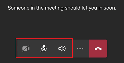 Bookings meeting lobby with meeting controls displayed