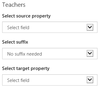 Identity matching options for teachers drop-down