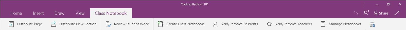 Class Notebook tab menu
