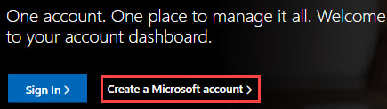 Image of the Microsoft Account page