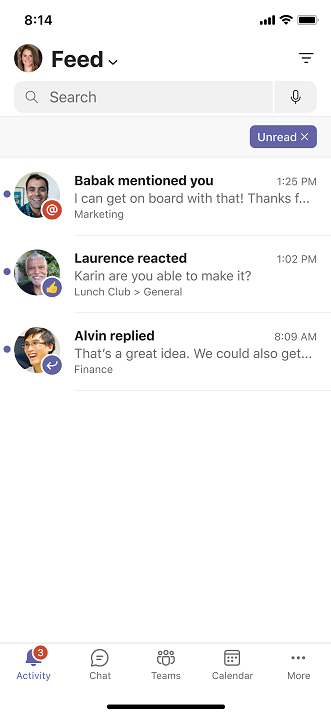 Screenshot of message search results