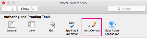 In Word Preferences, click AutoCorrect to change what AutoCorrect changes in your document.