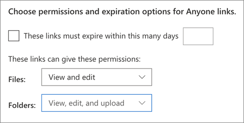 Permissions and expiration options for Anyone Links in OneDrive, with Files set to View and edit, and Folders set to View, edit, and upload