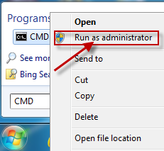 Right-click cmd.exe,and then click Run as Administrator.