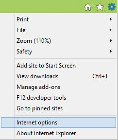 Internet Options on the Tools menu