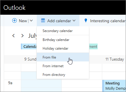 Screenshot of Add calendar list with From file selected.