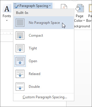 No Paragraph Space on the Paragraph Spacing menu