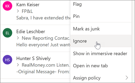 Ignore an email conversation in Outlook on the web