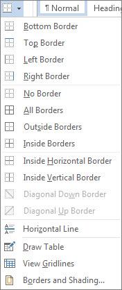 Border button drop-down
