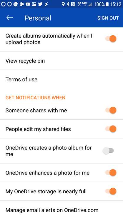 Go into the settings of your OneDrive for Android app to set the notification settings.