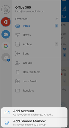 Outlook Settings screen with Add Shared Mailbox option