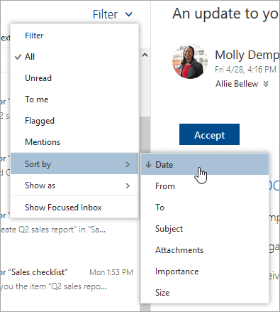 A screenshot of the Filter menu with Sort by selected