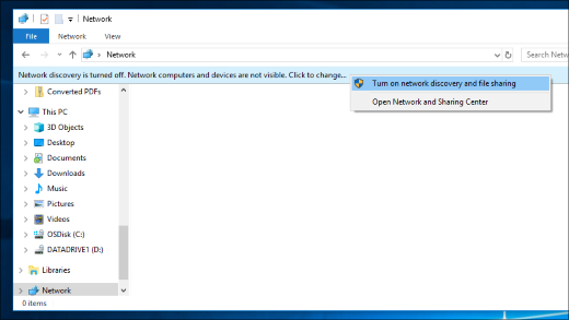 Turning on network discovery in File Explorer