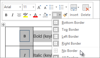 Selecting a whole table, applying No Borders