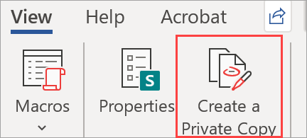 Shows Create a Private Copy button in a document